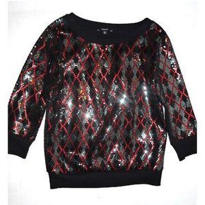 Express | Argyle Sequin 3/4 Sleeve Sweater